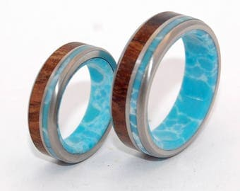 Titanium Wedding Bands, titanium wedding rings, mens rings, womens rings, larimar stone, unique wedding rings - LIINA TERRA