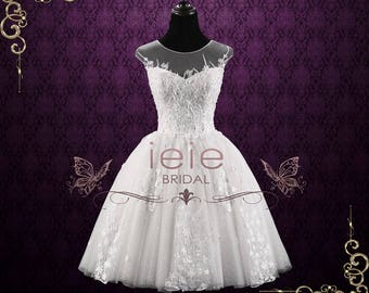 Ivory Short Retro Lace Bridal Wedding Dress with Floral Lace   May