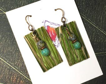 Olive Patina Artisan Earrings, Green Embossed Earrings, Brass and Glass Earrings, OOAK Earrings