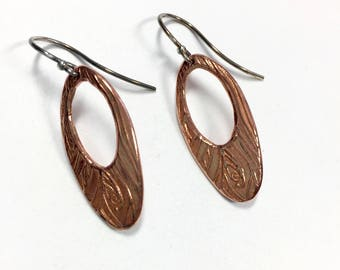 Copper Clay Earrings, Handcrafted Copper Earrings, Solid Copper Jewelry, Vines Collection Copper Earrings, Oval Copper Textured Earrings