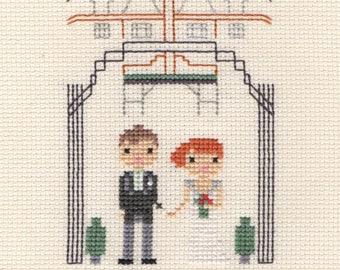 Large Wedding Custom Portrait in Pixel Cross Stitch (Framed)