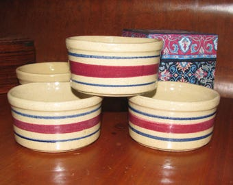 Four antique RRP ramekins from Roseville OH