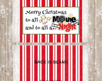 Christmas Movie Night Microwave Popcorn Wrappers, Christmas Eve Box Favors, Stocking Stuffer DIY Digital PDF File, INSTANT Download