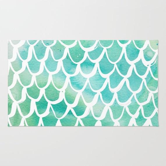 Mermaid rug - Area Rug - Turquoise Throw Rug - Carpet - Accent Rug - Floor Rug - Watercolor Rug - 2 x 3 rug - 3 x 5 rug - 4 x 6 rug