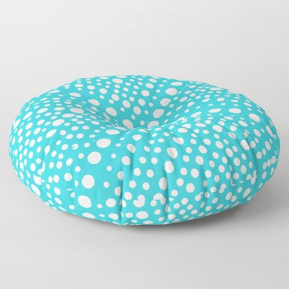 Aqua floor cushion - Round cushion - Turquoise Pillow - Round pillow - Floor pillow - Geometric pillow - 26 inch pillow - 30 inch pillow