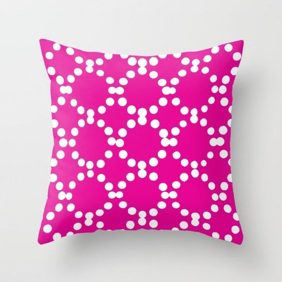 OUTDOOR Throw Pillow - Magenta Outdoor Pillow - Pink patio cushion - Modern Geometric Pillow Ring Dot -  16 18 20 inch - Outside Pillow