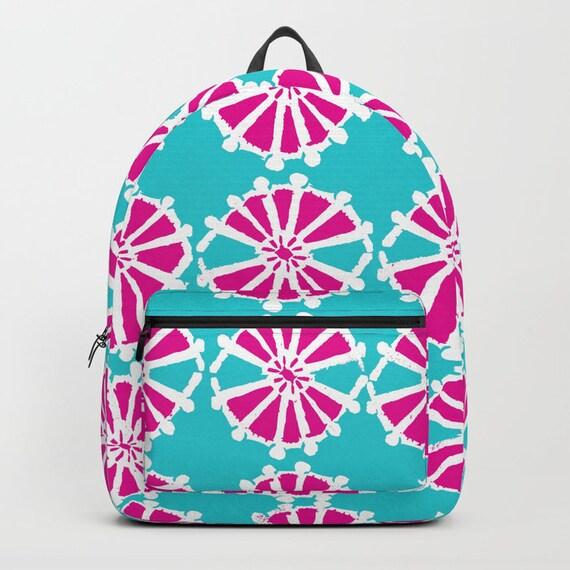 Aqua Backpack Magenta bookbag Turquoise backpack Pink bookbag Kids backpack Aquamarine backpack Modern school bag Wheel backpack