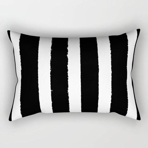 Black and White Stripe Lumbar Pillow - Toddler Pillow - Geometric Pillow - Bed Pillow - Rectangle Throw Pillow Striped Pillow  Travel Pillow