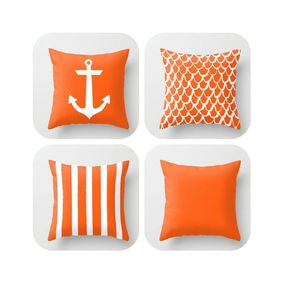 OUTDOOR Throw Pillow . Orange Mermaid Pillow . Coastal Patio Cushion . Anchor Pillow . Orange Stripe Pillow . 16 18 20 inch . Lumbar Pillow