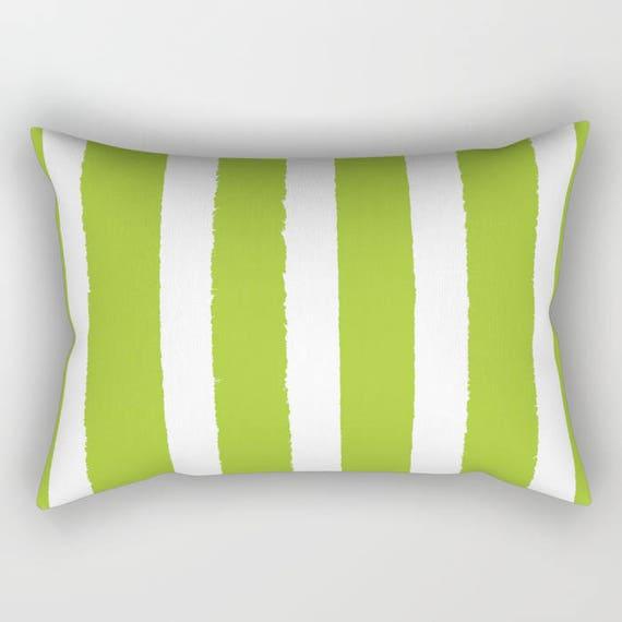 Lime Lumbar Pillow . Lime green lumbar pillow . Lime Toddler Pillow . Striped Pillow . Green Pillow . Modern Cushion . Travel Pillow 14 x 20