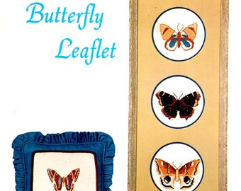 Maggie's Butterfly Leaflet Swallowtail Luna Moth Brown and Blue Fantasy Colors Counted Cross Stitch Embroidery Craft Pattern Leaflet