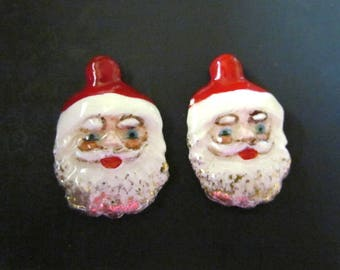 Vintage Ceramic Hand Painted Santa Faces