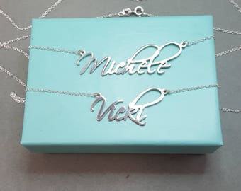 name necklace, custom name necklace, silver name necklace, nameplate necklace, personalized name, name on chain, necklace with name