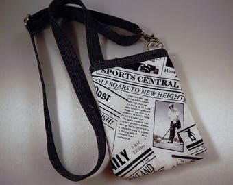 Open Top Pocket Easy Reach Cell Phone Men's Newspaper Sports Quilted Lanyard Wallet Organizer Tote
