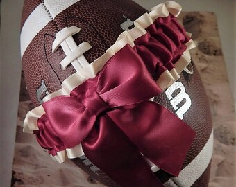 Football Toss Garter Burgundy Maroon Wine Bow Ivory Satin Wedding Accessories Football Band ( Football not included)