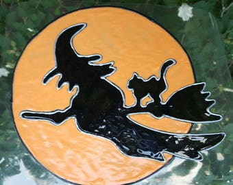 Witch silhouette flying with cat window cling