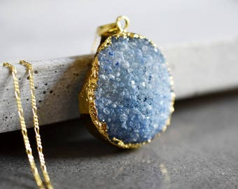 925 AMORE Agate Druzy Half-Gemstone Necklace