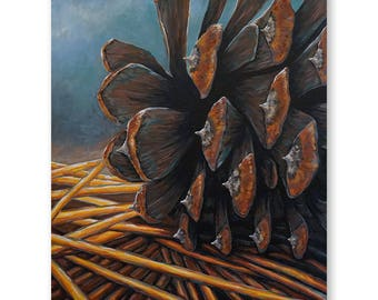 Close Up Pinecone Painting - Print