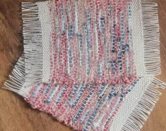 Woven Mug Rug Farm House Style Red Blue Cream recycled fibers eco friendly sold in a set of 2