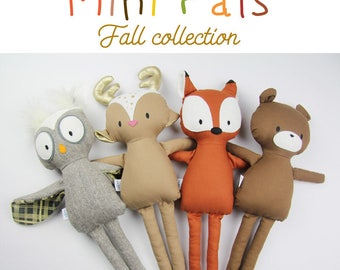 NEW Mini Pals Fall collection rag doll animal sewing pattern toy fox owl bear deer fawn softie stuffed doll