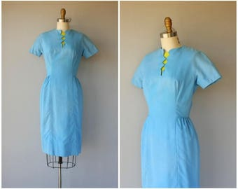 Vintage 1960s Dress | 60s Wiggle Dress | Lanz Originals Dress | Blue Linen Dress | 1960s Sheath Dress | 60s Dress - (x-small)