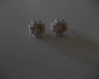 Silver flower earings