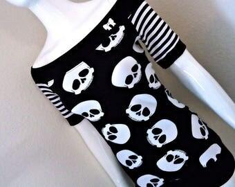 Custom Size Skulls + Stripes Off Shoulder Top S M L XL 1X 2X