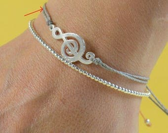 Sterling silver  music note charm  bracelet