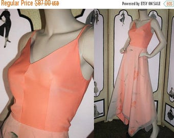 ON SALE Vintage 1970's Formal Dress with Layered, Hand Painted, Handkerchief Skirt in Peach. Medium.