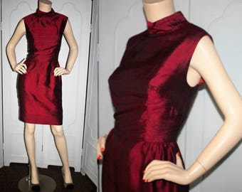 Vintage 60's Dupioni Silk Cocktail Dress in Garnet Red. Small.