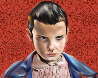 Eleven from Stranger Things Movie Poster Print Customize Color and Background Stranger Things Art Poster Print Stranger Things Poster Print