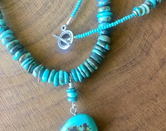 Turquoise rondells with turquoise bear totem pendant