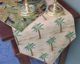 Palm Tree Table Runner Reversible 3 sizes Tropical Green Fern Table Runner Hawaiian Table Runner  Summer Table Runner Palm Tree Table Decor