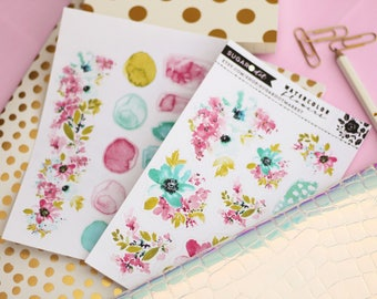 Watercolor flowers 2pck with foil