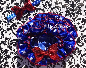 4th Of July set. PATRIOTIC TUTU BLOOMER and Headband . Satin ruffle diaper cover, all around ruffle bloomer,  Independence Day