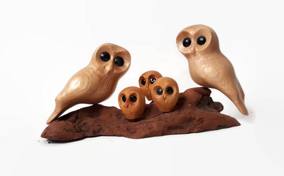 Anniversary gifts owl family of 5 owls wood carving anniversary gift for parents Mothers day gift for mom rustic wedding gift
