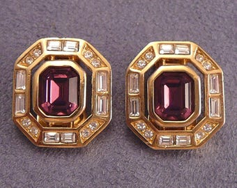 Christian Dior Purple Rhinestone Earrings Vintage Designer Couture