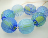 Moogin Beads- Detailed abstract round etched lampwork / glass bead set   - SRA