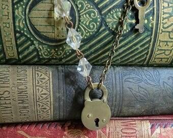 On SALE Unlock My Heart...Vintage Mini Lock and Key Necklace