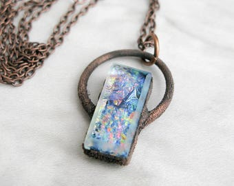 Fused Glass Pendant Electroformed Copper Necklace Goddess necklace boho Jewelry Large Glass Pendant Statement necklace OOAK