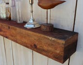 "Reclaimed Wood - Rustic Shelf - Home Decor - Home & Living - Floating Wall Shelf - Farmhouse Chic - Shelves - Old Wooden Shelving - 63"" Long"
