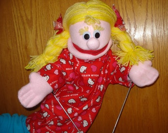 18 inch Girl Hand Puppet moveable mouth red dress blond hair