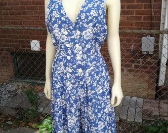 plus size culottes dress / 80s vintage / Jonathan Martin / pinafore / 16 inseam / size 11/12 / savannahwillow
