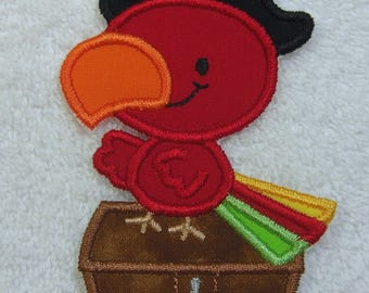 Pirate Parrot Embroidered Iron on Applique Patch Ready to Ship