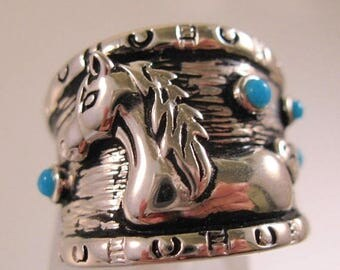 XMAS in JULY SALE Designer Horse Cigar Band Ring Turquoise & Silver Plated Copper Signed Dal or Dac Size 6