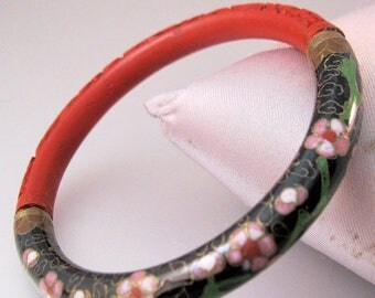 SALE & FREE SHIPPING Vintage Oriental Cinnabar and Cloisonne Bangle Bracelet Jewelry Jewellery