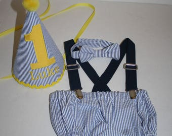 baby boy cake smash outfit navy blue, yellow boy first birthday outfit smash cake set 1st birthday hat suspenders, diaper cover bow tie