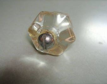 "Vintage 1 1/8"" Glass Hexagon Dresser Cabinet Bureau Drawer Knob. 1920s Hardware. Bolt Included. Tiny Bubbles in glass."
