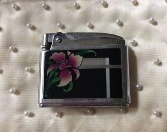 Vintage 1950s Mid Century Atomic Ronson Adonis Pink Floral Lighter Tobacciana