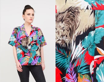 Vintage 80s Tropical Jungle Print LION Animal Print Safari Shirt | Cotton Short Sleeve Button Down Shirt